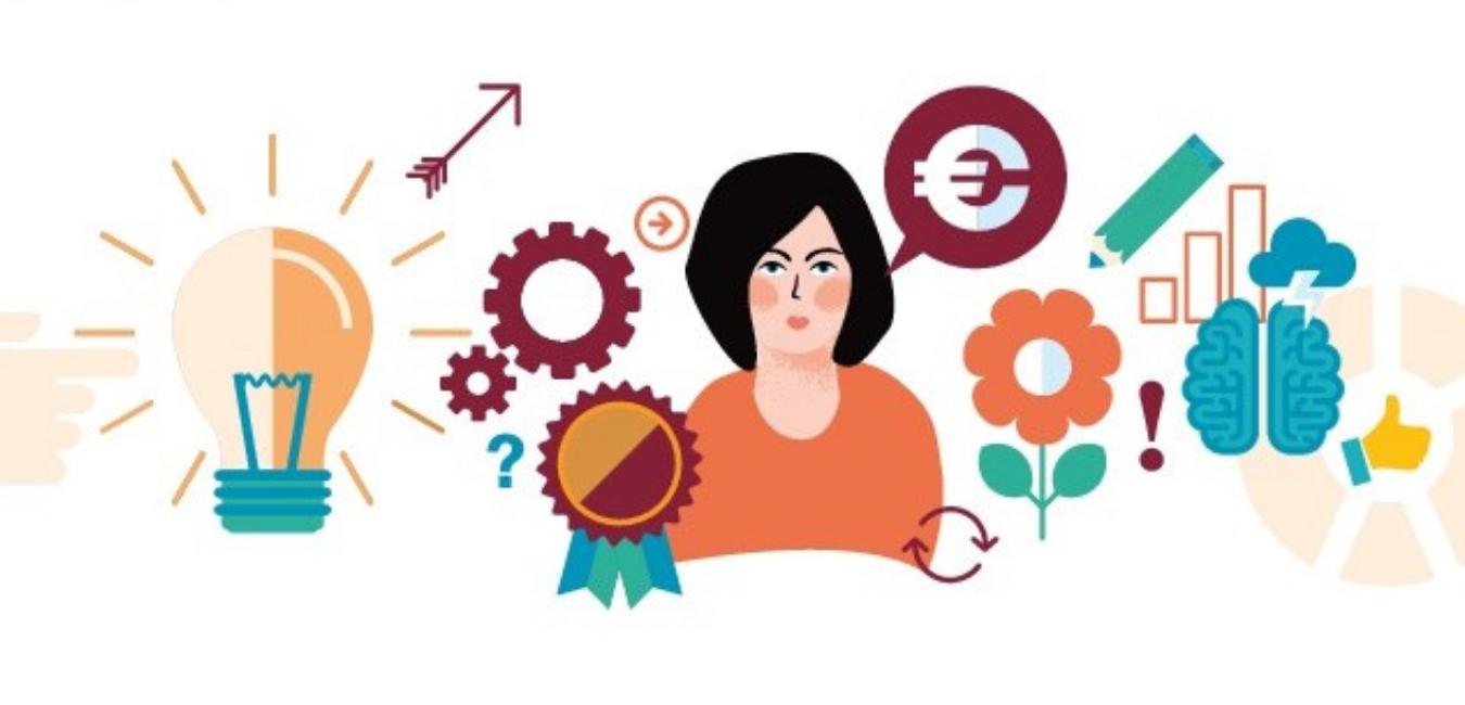 Illustration mit Frau, Glühbirne und Zahnrädern zum Speed-Dating mit Vorbild-Unternehmerinnen