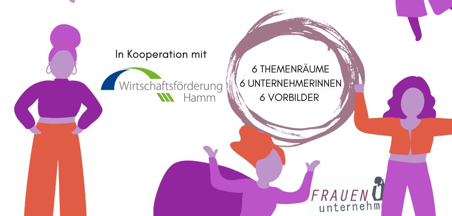 """Illustration mit stilisierten Frauen zur Veranstaltung """"Unternehmerin werden – aber wie?"""" der Initiative FRAUEN unternehmen mit Unternehmerinnen aus Hamm"""